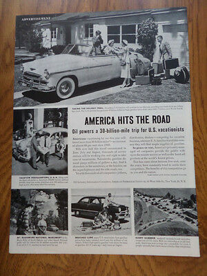 1951 American Petroleum Ad America Hits the Road Vacations Chevrolet Ford ?