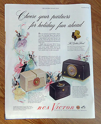 1948 RCA Victor Radios Ad  Shows 4 Models Partner's for Holiday fun Ahead