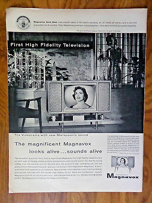 1956 Magnavox TV Television Ad 1st High Fidelity Marguerite Piazza Opera Star