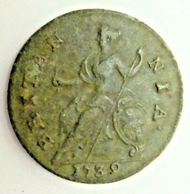 1739 George Ii Half Penny, Coin Found On St Simons Island, Ga!!   Free Shipping