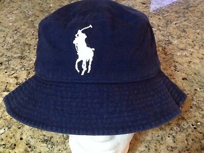 Polo Ralph Lauren Boys navy cotton Big Pony bucket hat fishing hat size 8-20