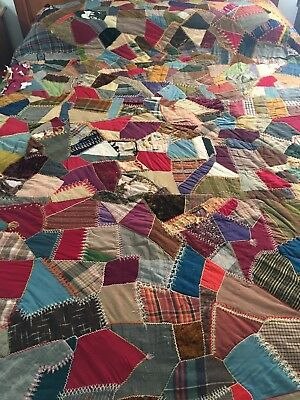 """Vintage Hand Stitched Crazy Quilt With  Beautiful Embroidery Work 75"""" X 87"""""""