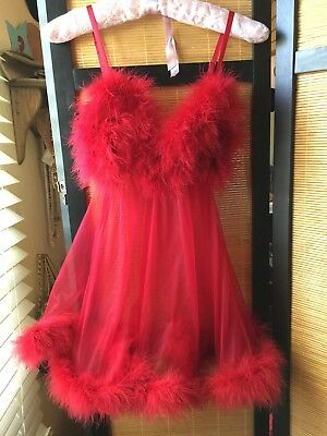 Fredericks of Hollywood Red Babydoll Nightie Marabou feathers Lingerie Sexy 0/S