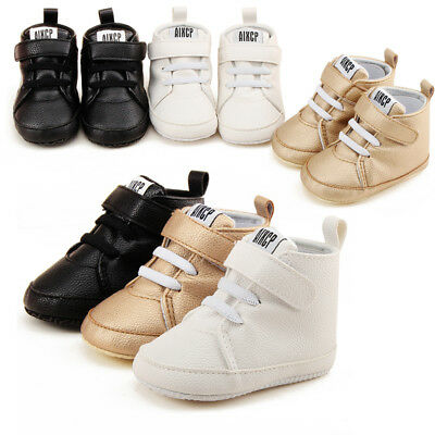 Infant Baby Boy Girl Crib Shoes Pram Soft Sole Prewalker Anti-slip Sneaker AU
