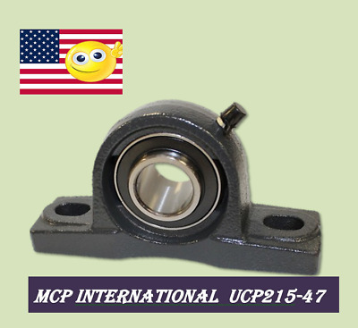 (2pcs) UCP215-47 Pillow Block shaft size 2-15/16 in Solid Base Housing