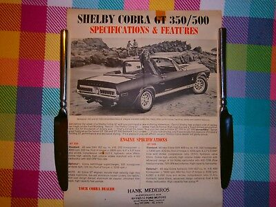 1968 Shelby Cobra Gt 350 Gt 500 Convertible Mustang Sales Flyer Hayward Ford