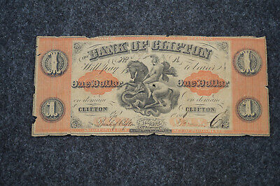 1861 Canada $1 Note, Bank of Clifton George Slaying Dragon