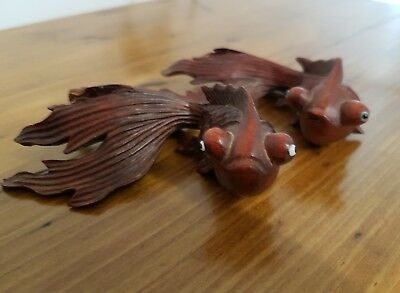 Antique Hand Carved Pair of Oriental Fish