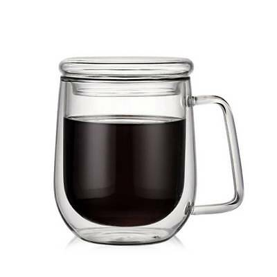 300ml Double Walled Espresso Cups Clear Glass Coffee Tea Mugs Heat-proof + Cover