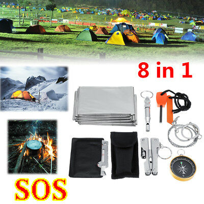 8 In 1 SOS Emergency Survival Equipment Kit Tactical Outdoor Hiking Camping Tool