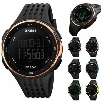 SKMEI Mens Digital Waterproof LED Date Day Alarm Sport Rubber Quartz Wrist Watch