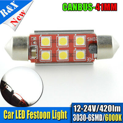 1X White 41MM 6SMD 3030 Canbus LED Car Dome Interior Light Festoon Bulbs 12V 24V