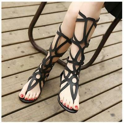 786b60cdde Clothing, Shoes & Accessories Women Strappy Gladiator Sandals Knee High  Zipper Shoes Open Toe Buckle Flat Boot Sandals
