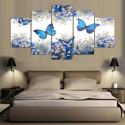 5X Modern Flowers Canvas Print Art Oil Painting Wall Picture Home Decor Unframed