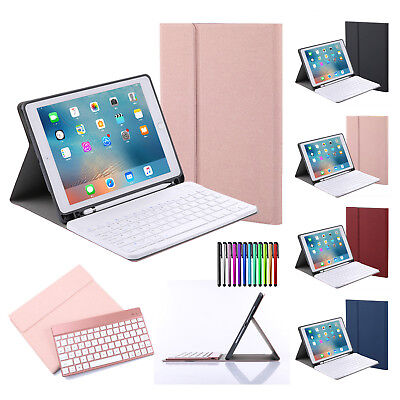 For Apple iPad Smart PU Leather Case Cover with Pencil Holder Bluetooth Keyboard