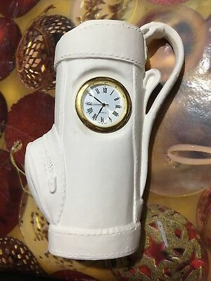 1 CERAMIC Bisque Golf Bag Pencil/pen holder with functioning clock inc Battery