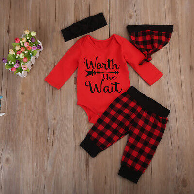 AU Newborn Baby Infant Boy Girl Winter Bodysuit Romper Hat 4Pcs Outfits Clothes