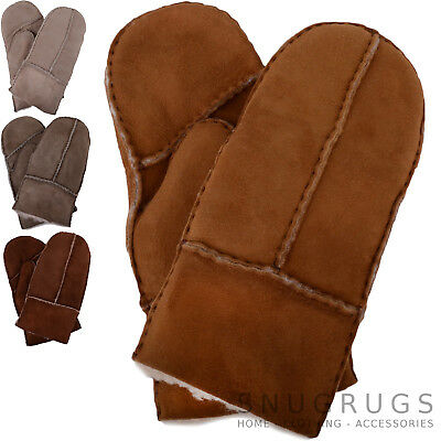 Lambland Childrens Genuine Sheepskin Lined Thumb Mittens with Keep Safe Cord