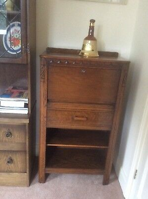 Solid Oak Bureau / Writing Desk With Drawer and Key, great condition