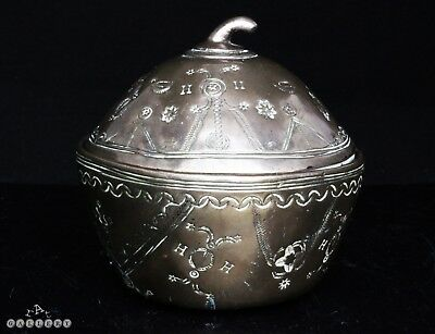 Antique German / Near Eastern Paktong Nickel Silver Fruit Form Box & Cover