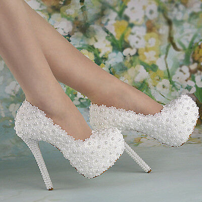 "5.5"" Heel White Pearl Lace Flowers Platform Heels Wedding Shoes Bridal Zsell"