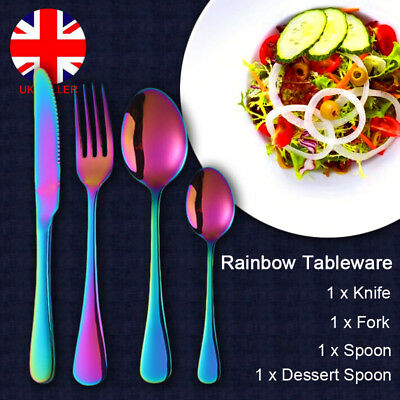 4 Pcs Rainbow Iridescent Unicorn Stainless Steel Cutlery Set Spoon Knife Fork