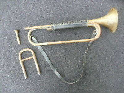 RARE OLD FRENCH MILITARY CAVALERY Eb TRUMPET around 1880! PLAYS WELL!