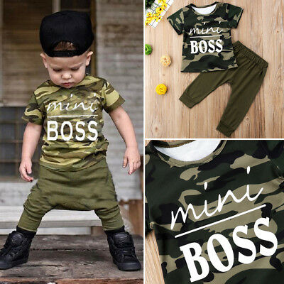 AU Seller Toddler Baby Kids Boy Tops T-shirt Pants Camo 2Pcs Outfits Set Clothes