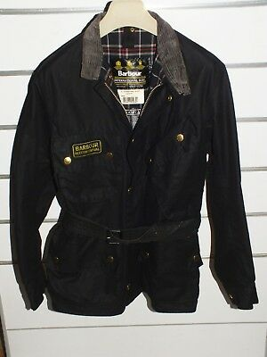 barbour international  giacca jacket waxed cotton + spilla  c38-97  s