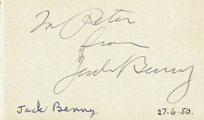 Jack Benny - Inscribed Signature Circa 1950 With Co-Signers