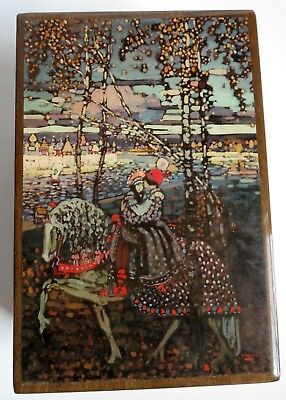 """VTG Lacquered Kandinsky Art Reuge Wood Music Jewelry Box """"We've Only Just Begun"""""""