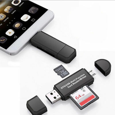 2pcs Micro USB OTG to USB 2.0 Adapter SD/Micro SD Card Reader Fits Smartphone PC