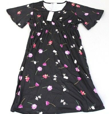 Bluebelle Maternity Women's Tropical Floral Midi Nursing Dress AB4 Black US:10
