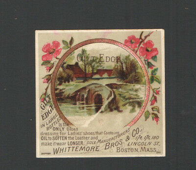 Advertising Trade Card GILT EDGE GLOSS for Shoes Whittemore Bros &Co Boston Mass