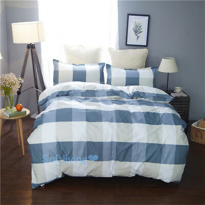 Blue Checked Quilt/Doona/Duvet Cover Set Single/Double/Queen/King Bed Pillowcase