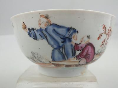 FINE 18thC CHINESE PORCELAIN BOWL WITH PAINTED FIGURES IN A GARDEN SCENE