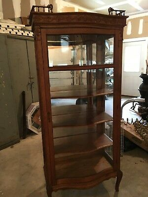"ANTIQUE OAK CURVED GLASS CHINA CABINET  MIRRORED BACK 70""x 31"" x 18"""