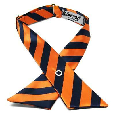Navy Blue and Orange Striped Crossover Tie