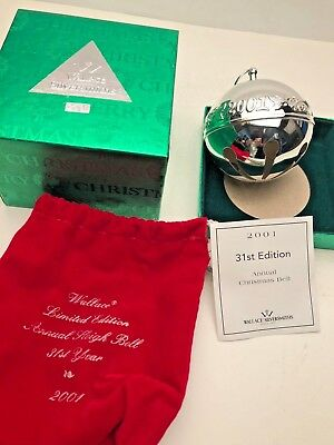 Wallace 2001 Silver Plated Sleigh Bell with Box.  Excellent Condition
