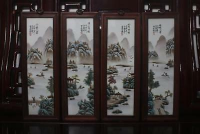 Old Rare Four Famille Rose Chinese Porcelain Scroll Wall Plaques Wang Yeting MK