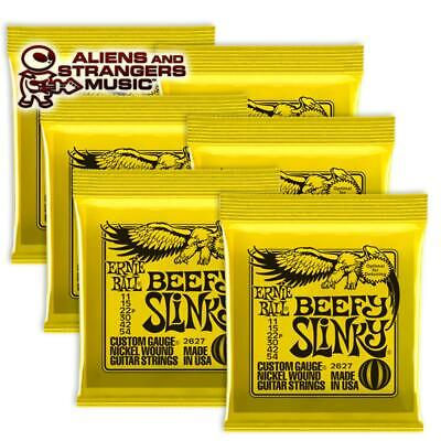 6 Sets! Ernie Ball Beefy Slinky Electric Strings 2627 .011-.054