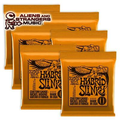 6 Sets! Ernie Ball Hybrid Slinky Electric Strings 2222 .009-.046