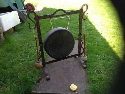 Old Large gong on cast metal stand