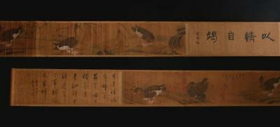 Chinese Old Gao Qipei Scroll Painting Duck 161.42""
