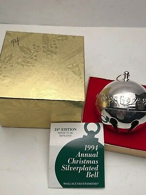Wallace 1994 Silver Plated Sleigh Bell with Box.  Excellent Condition