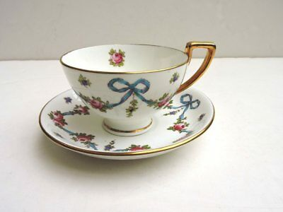Crown Staffordshire - BLUE BOW - Cup and Saucer - circa 1900-1910