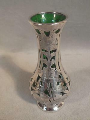 "Antique 6"" Alvin Sterling Silver Overlay Vase On Emerald Green Glass"