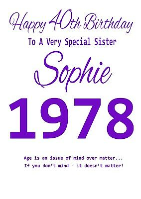 Personalised Birthday Card Sister Mum Friend Any 18th 21st 30th 40th 50th Etc