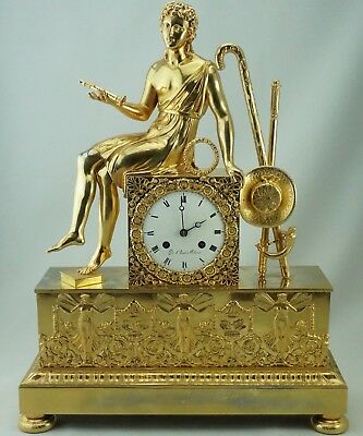 French Empire Gilt Ormolu Mantle Clock, circa 1800