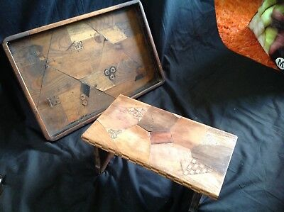 Antique Japanese wooden tray and folding table